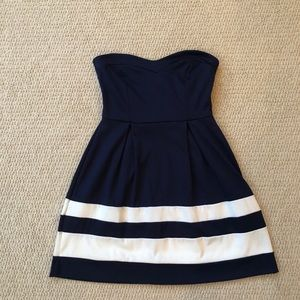 Strapless blue striped dress